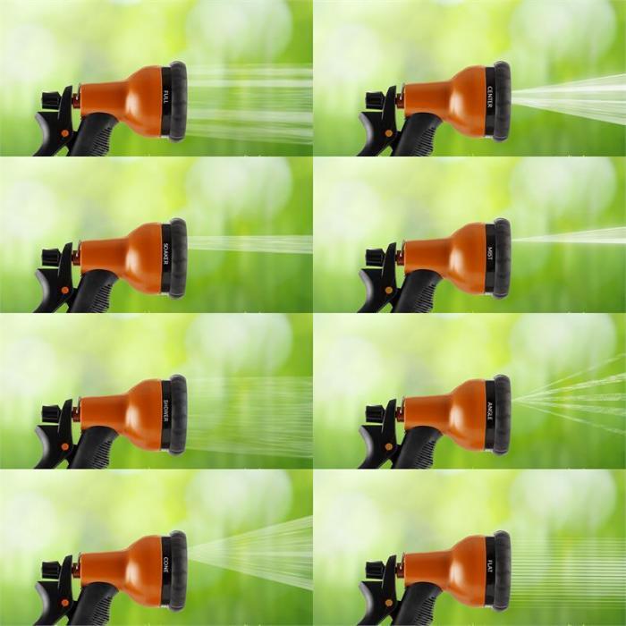 Water Wizard 15 Flexibler Gartenschlauch 8 Funktionen 15 m orange