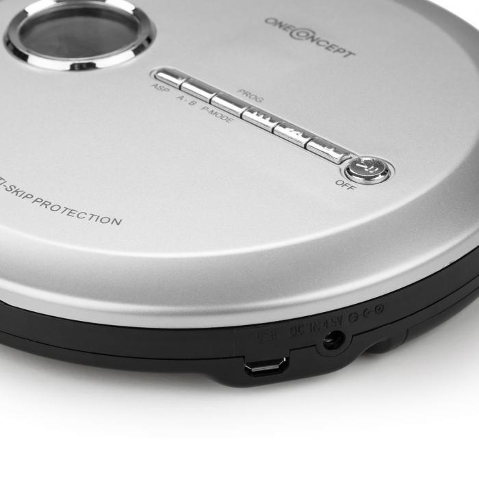 CDC 100 MP3 Discman CD-Player tragbar Antishock ESP Micro-USB silber